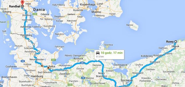 Route from Poland to Denmark